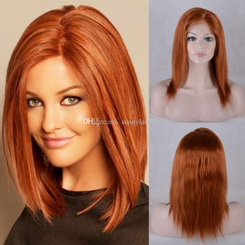 Brasileira virgem remy peruca de cabelo humano perucas ruiva frente perucas de cabelo humano perucas para as mulheres negras