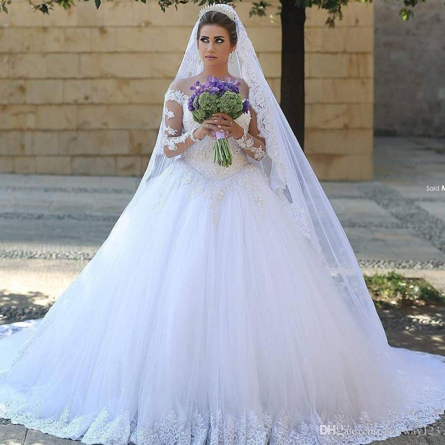 Abito di sfera Abiti da sposa in pizzo classica a manica lunga Bianco illusione Scollo Abiti da sposa robe de mariage Custom Made abiti da principessa