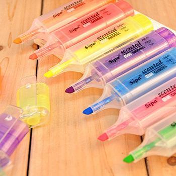 Marcador de cor de caneta fluorescente de fragrância Coreia do Sul papelaria mais cor na caneta de marcador fluorescente de cor de doces