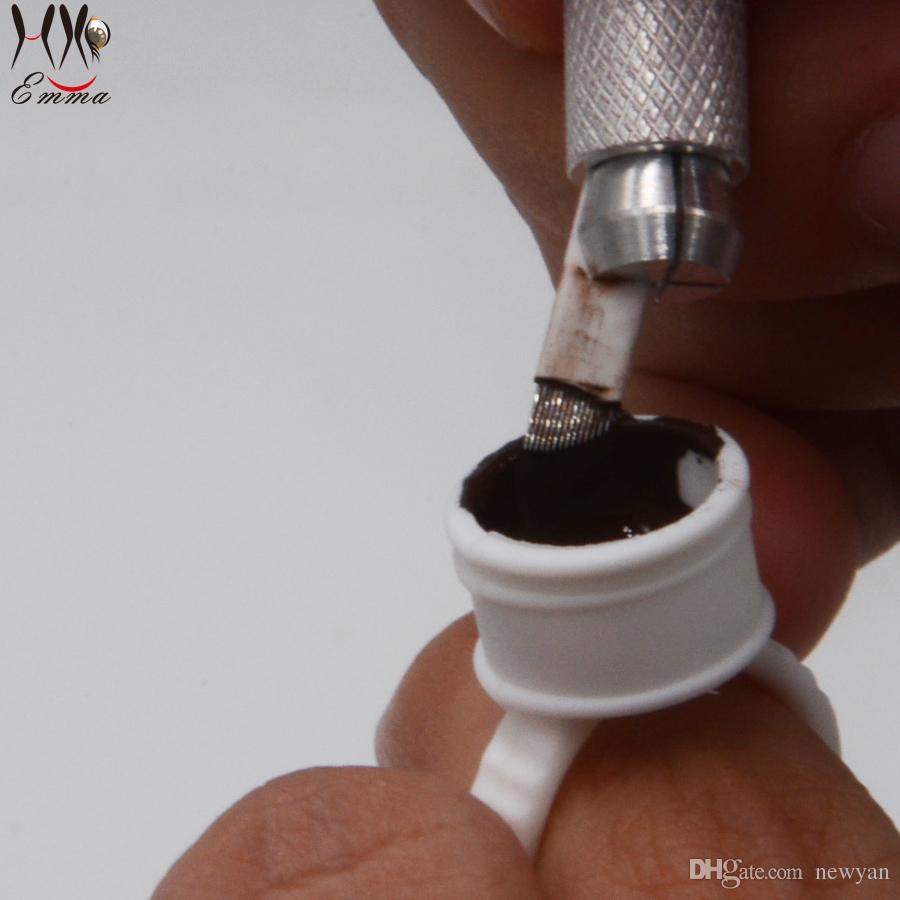 Средний размер одноразовые пластиковые Белое кольцо чернильные чашки/колпачки держатели для перманентного макияжа татуировки брови подводка для глаз губ