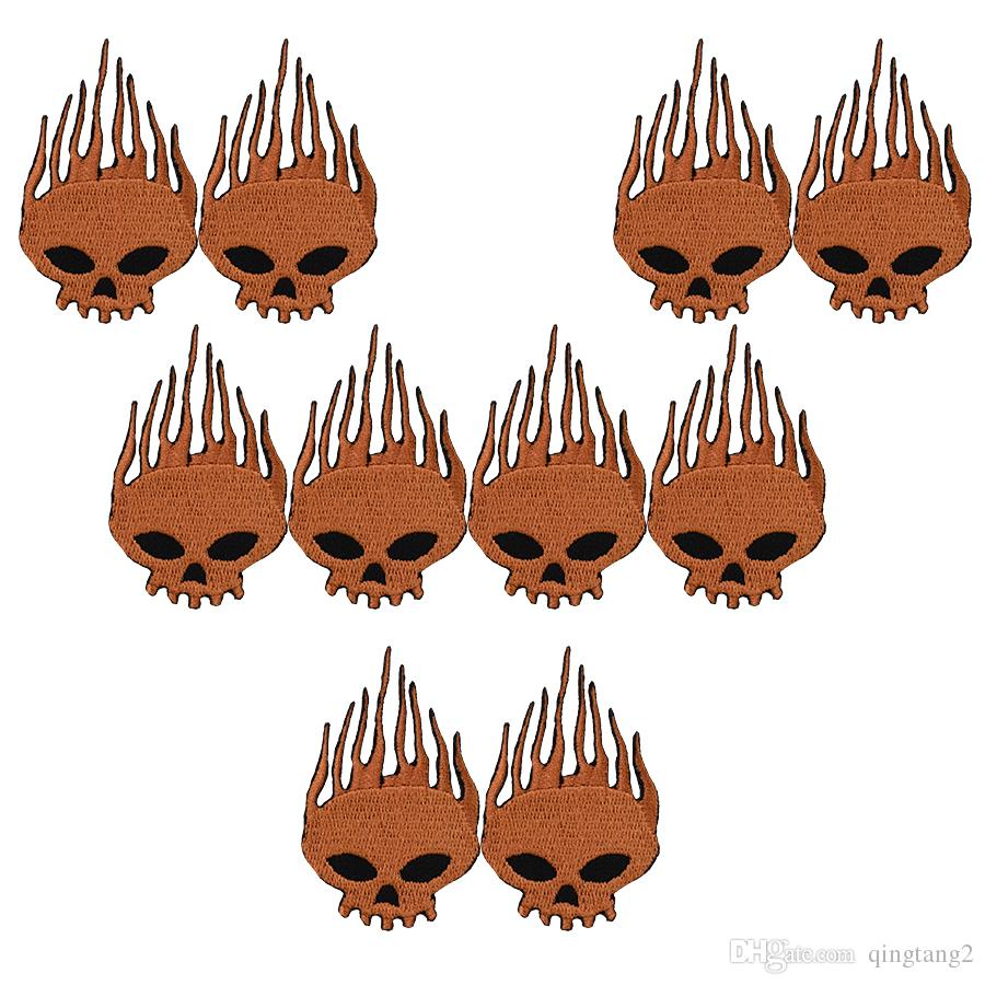 10PCS brown skull embroidery patches for clothing iron patch for clothes applique sewing accessories stickers badge on cloth iron on patches