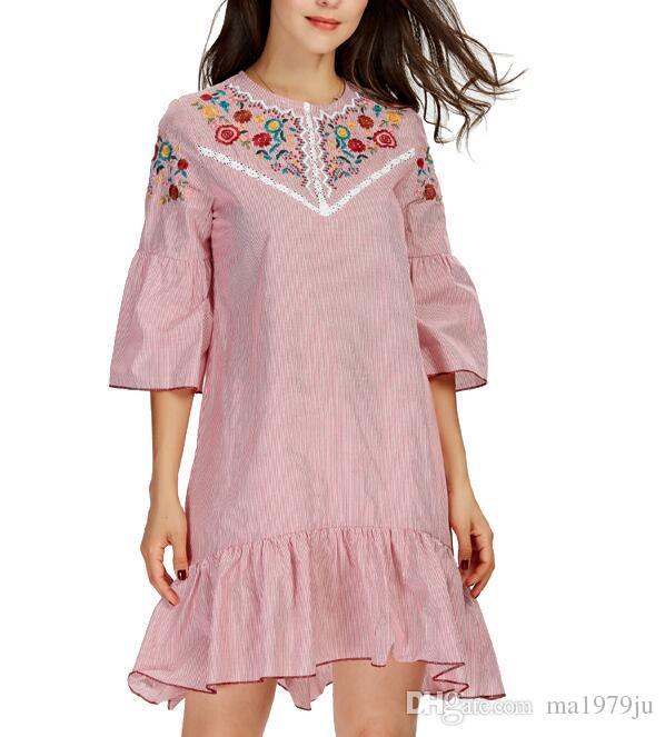 Mulheres ruffles doce bordado floral vestido listrado o pescoço meia manga senhoras verão casual mini vestidos vestidos