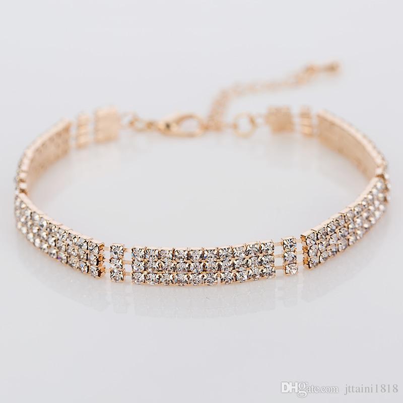 Nuovi braccialetti placcati d'argento del braccialetto di cristallo del cristallo di rocca del pieno di modo 2017 per i monili di lusso delle donne accessori
