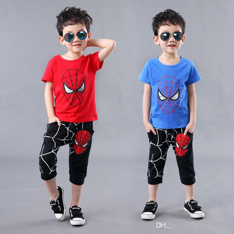 2PCS Kids Baby Boys Cartoon Spiderman Top+Pants Set Kids Casual Clothes Outfits