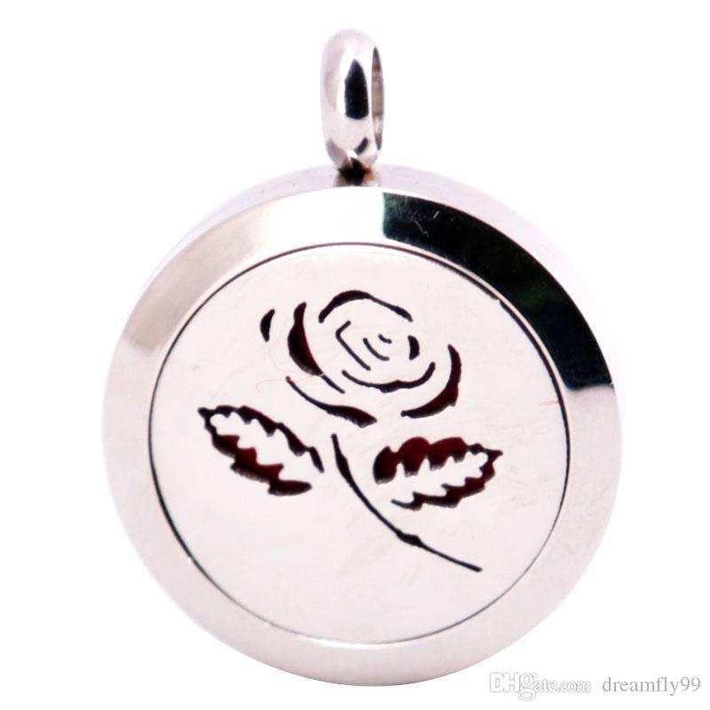 Rose Fleur 25mm Diffuseur 316 En Acier Inoxydable Collier Pendentif Aroma Médaillon Huile Essentielle De Diffuseur Médaillons Envoyer 100pcs Huiles Pads Comme Cadeaux