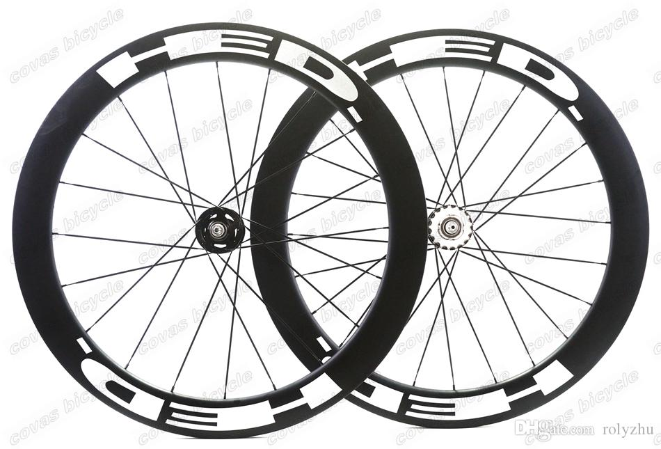 Livraison gratuite roues de bicyclette 700c piste roues de pneu de 60mm roue de piste en carbone roues fixes vitesse unique avec moyeu Novatec 165/166