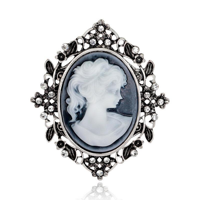 Yeni Varış Antik Altın Gümüş Renk Vintage Broş Pins Kristal Takı Kadınlar için Kraliçe Cameo Broş Rhinestone Noel Hediyesi