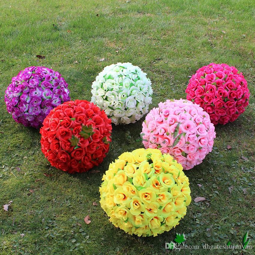 40 CM Elegante Artificial Silk Rose Flor Beijando Bolas Para Festa de Casamento Decoração Suprimentos 8 Cores New Arrival