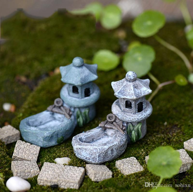 2020 Monastery Temple Pool Statues Resin Crafts Fairy Garden