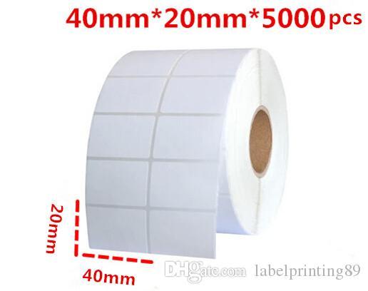 40 * 20mm 5000pcs / rouleau d'étiquette de papier vierge ou d'étiquette de papier blanc d'étiquette autocollante auto-adhésif roulant des autocollants d'emballage