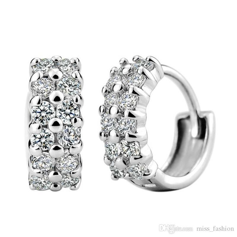 Envío gratis superior venta al por mayor 925 esterlina mujer plata flor pendiente joyería doble cristal línea shinning pendientes