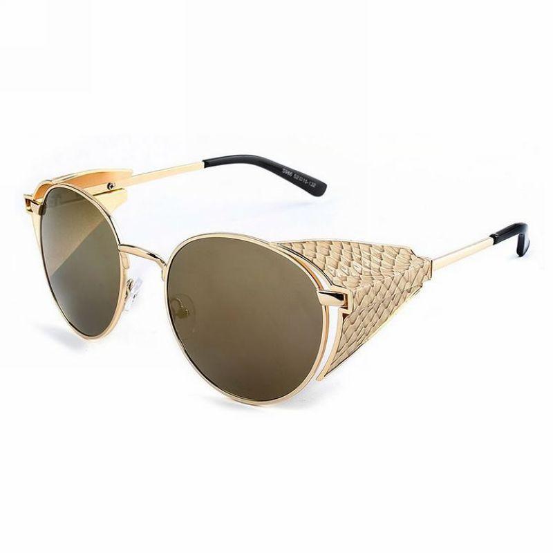 빈티지 레트로 Steampunk 라운드 금속 프레임 발명가 선글라스 사이드 쉴드 60mm 렌즈 Unisex 안경 Eyewear