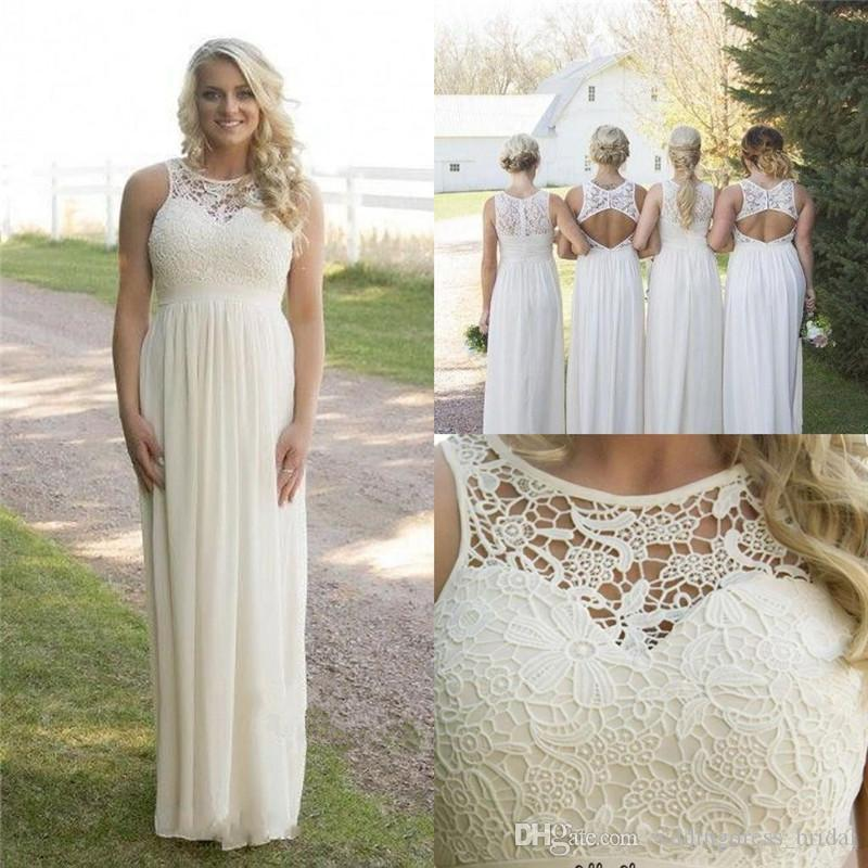 Summer Beach Plus Size Country Styles Bridesmaid Dresses 2019 Lace Top Empire Maternity Chiffon Garden Bridesmaids Dress Formal Party Gowns
