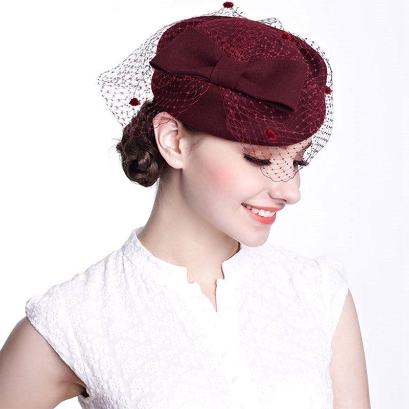 Femme Église Dress Fascinator Airline hôtesse de l'air en laine feutre inclinable Pillbox Hat Party Wedding Bowknot Voile Cap A080