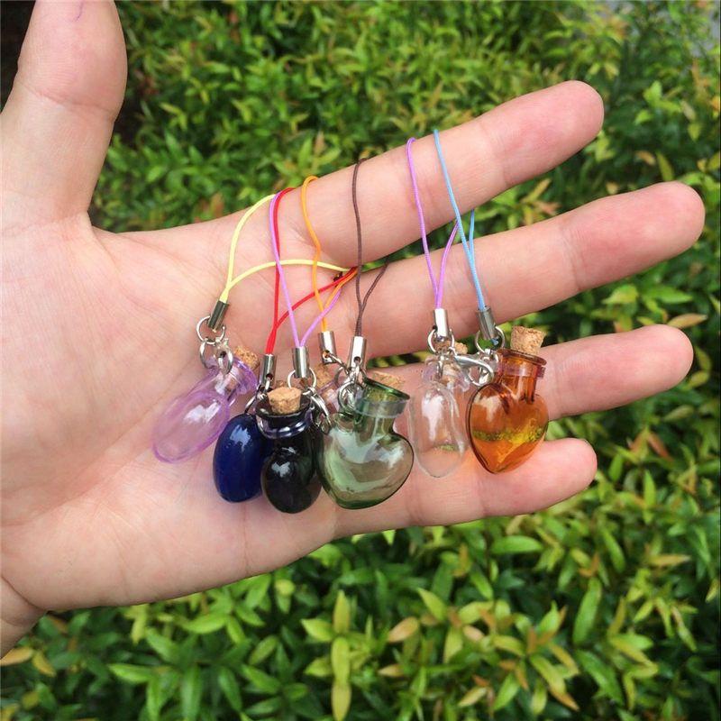 Glass Heart Pendants Mini Bottles Key Chains Lobster Clasp Cute Glass Love Hearts Pendants For Bracelets Mixed Colors (5)