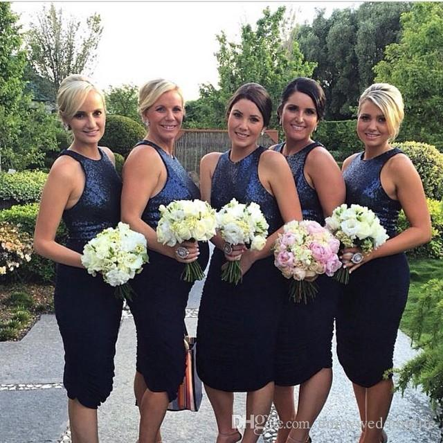 bc312d0ca1d75 2017 New Sexy Sleeveless Dark Navy Sequined Short Bridesmaid Dresses Knee  Length Sparkly Sheath Ruffles Maid Of Honor Gowns Short Party Gown ...