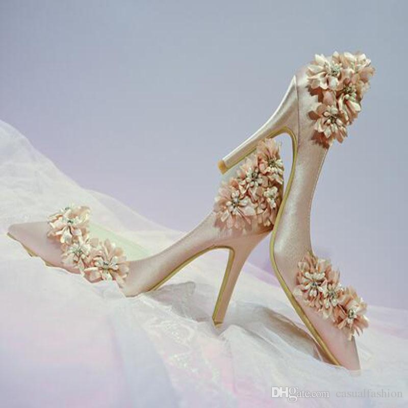 Diseñador de moda Flor Champagne zapatos nupciales de la boda zapatos de tacones altos para la fiesta de noche de la boda Prom zapatos de punta estrecha con alta calidad