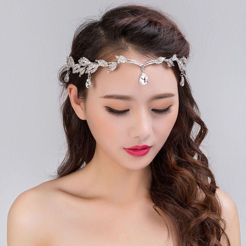 Neue 2017 Handgemachte Stirn Schmuck Hochzeit Kopfschmuck Tiara Braut Stirnband Kristall Strass Haarschmuck Vintage Frauen Haarbänder