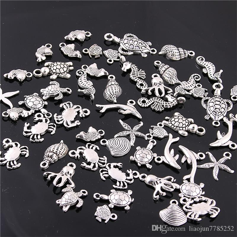 Süße Glocke 60 STÜCKE Mixed Antique silver mini Ozean Delphin Shell Charms Anhänger Schmuck Machen Diy Charme Kunsthandwerk H3003