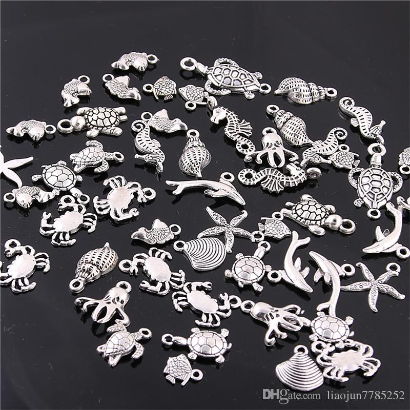 Tatlı Çan 60 ADET Karışık Antik gümüş mini Okyanus Yunus Kabuk Charms Kolye Takı Yapımı Diy Charm El Yapımı El Sanatları H3003