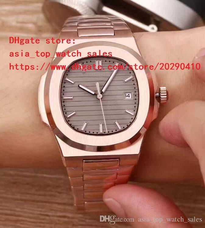 4 cores de ouro rosa relógio de luxo 40.5mm nautilus 5711 / 1a-001 data ásia mecânico transparente mens watch