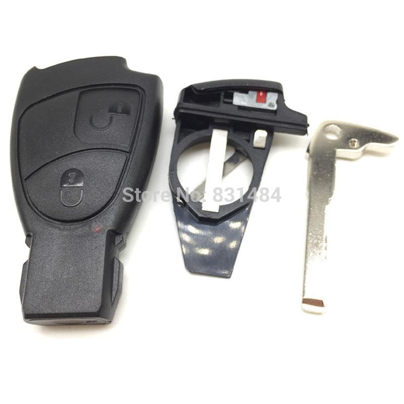 2 buttons replacement remote smart key fob case cover with battery clip and with key blade for mercedes benz car