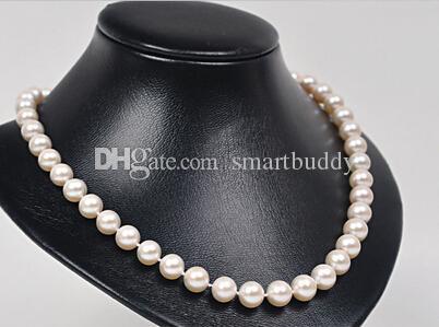 Perle fini Gioielli 10-12mm Positive Circle Minimal Ultimate Gloss Bianco Perla Collana 19 pollici 925 argento