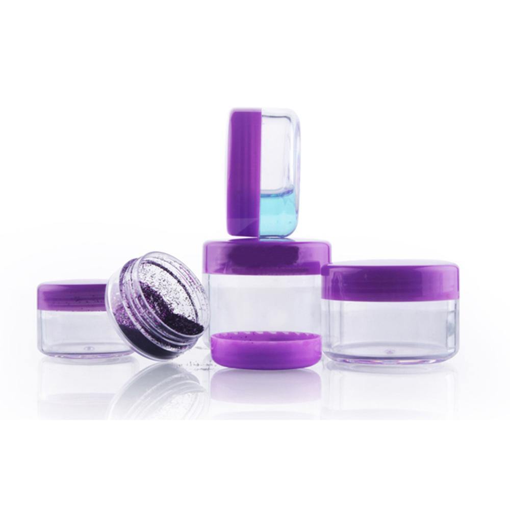 100 adet / grup 10g Temizle Plastik Boş Krem Kavanoz Kutusu Mor Kapaklı Kozmetik Göz Farı Ambalaj Kapları Toptan PJ14