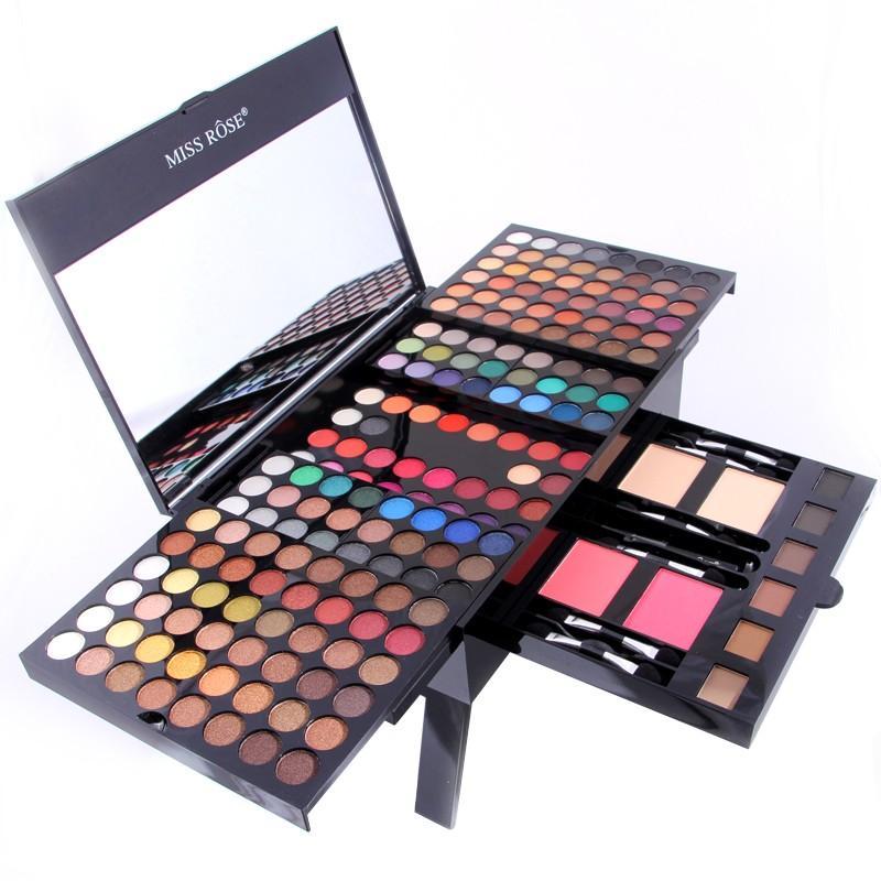 Großhandel-Miss Rose 180 Farben Lidschatten 2 Puder 2 Rouge 6 Augenbrauen Make-up Set Shimmer Matte Frauen bilden Palette 7002-004Y