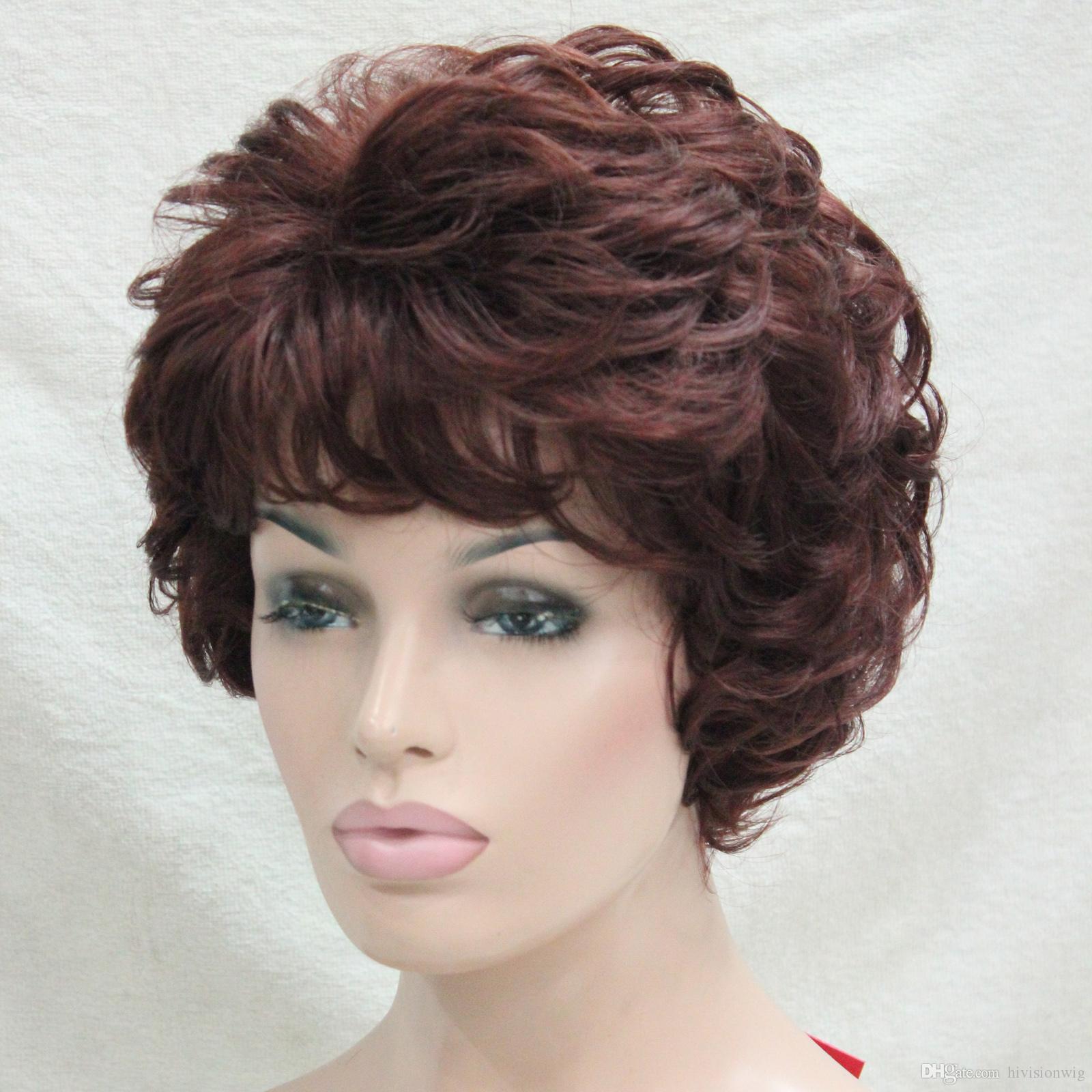 La parrucca corta ondulata delle donne ricce rosse auburn rosse di modo di nuova salute di modo 2017 per ogni parrucca di giorno