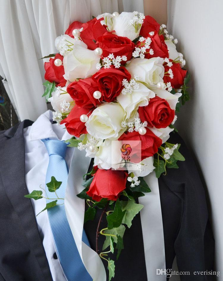 Compre Cascadas Artificiales Rojas Blancas Gotitas Ramos De Boda