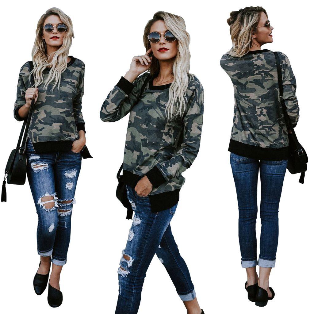 2017 новая мода камуфляж печатных с длинными рукавами женские повседневные толстовки О-образным вырезом футболка леди кофты пуловер топы женская одежда
