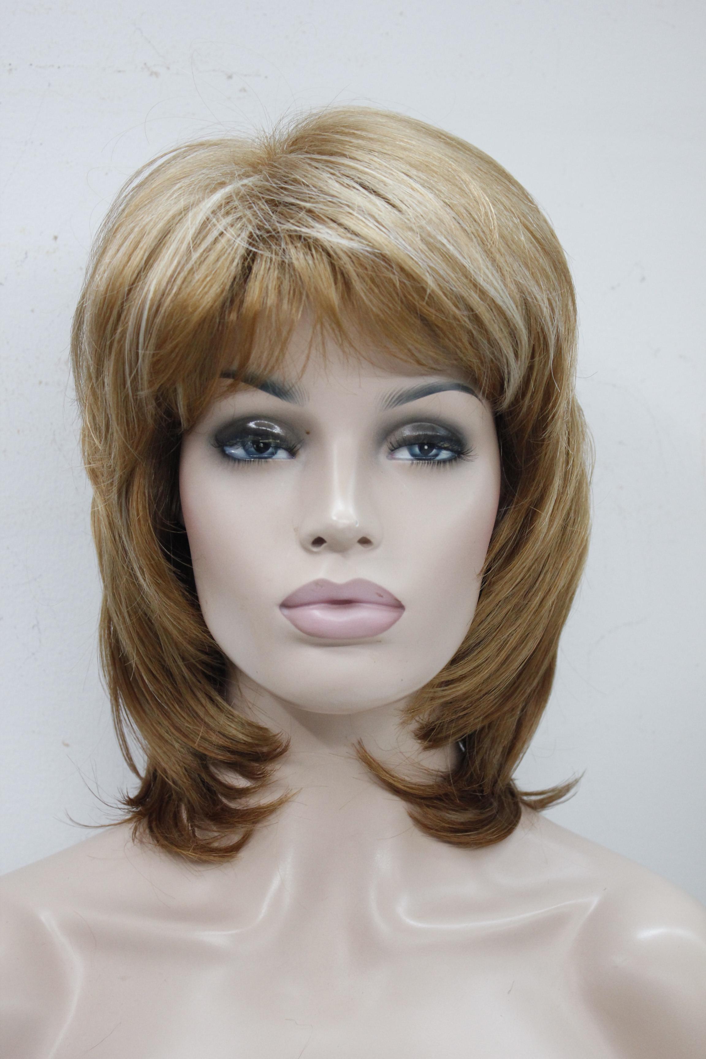 HiVision высокое качество HiVision элегантный очаровательный пушистый слой свет клубника блондинка микс средней длины волнистые женщин полный парик