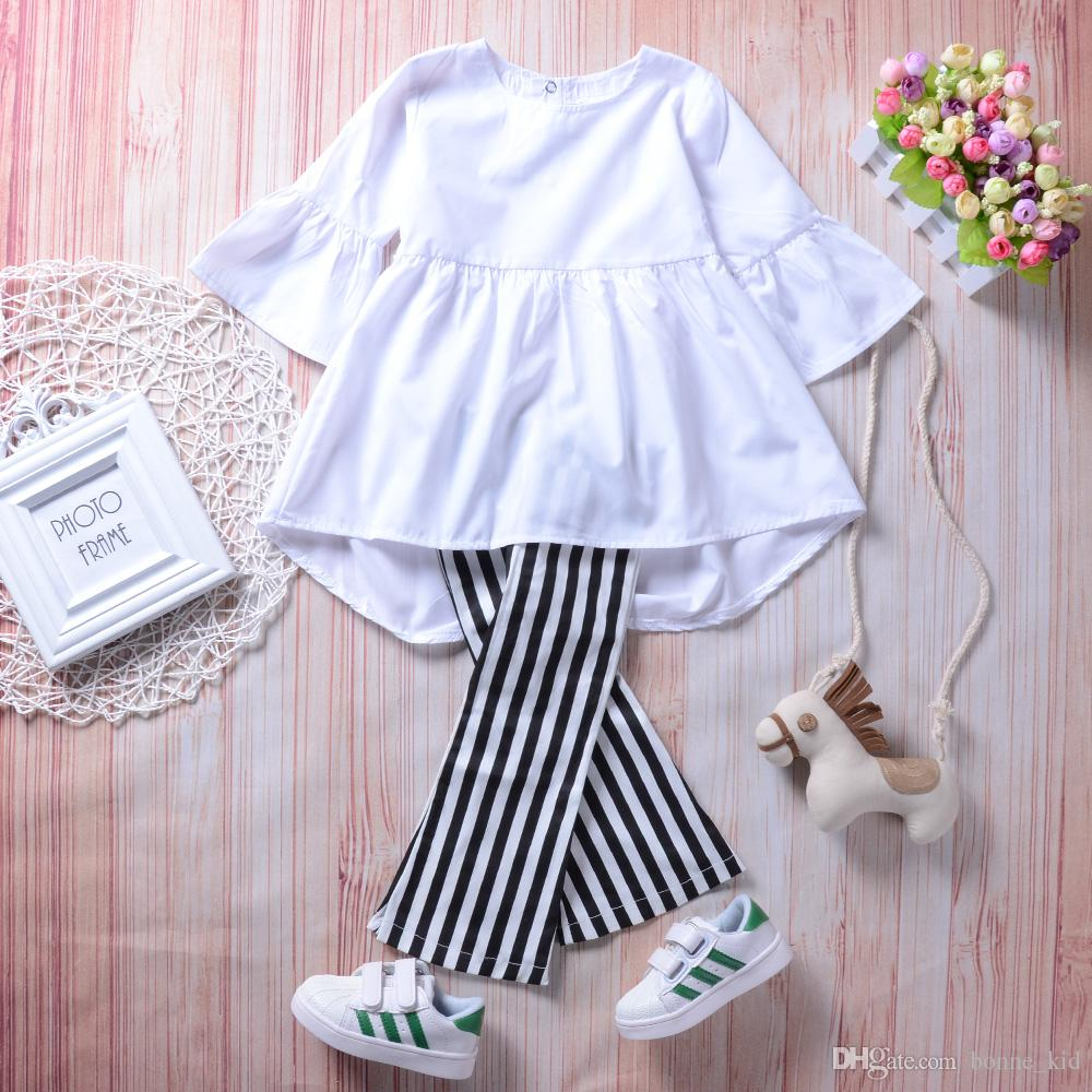 Spring baby girl clothes retro outfit white top+pants 2pcs set striped bell-bottom trousers kids girls clothing boutique dress toddler