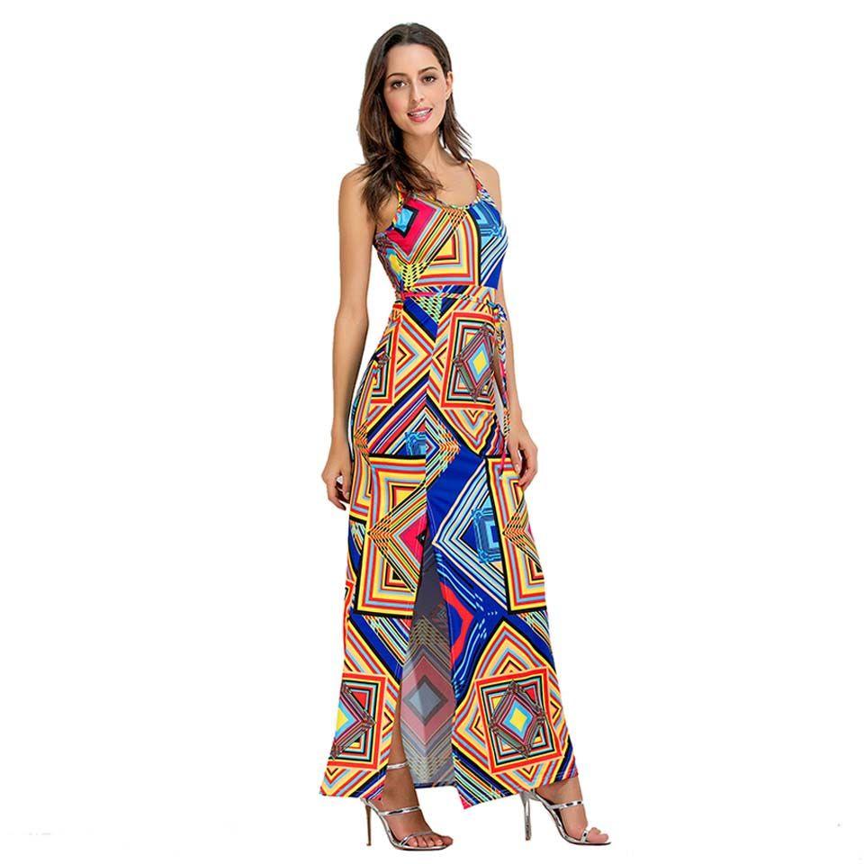 Compre Estilo Africano Imprimir Maxi Vestidos Largos Casual Summer Evenings Party 2017 Sin Mangas Correa De Espagueti Split Beach Beach Dress A 2262