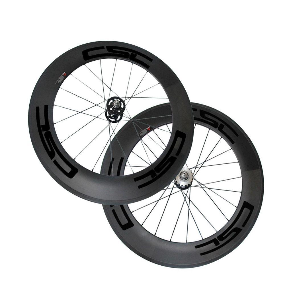 25mm Width Carbon Wheels 88mm Tubular Clincher Carbon Track Bike Wheels Fixed Gear Free Gear Single Speed Bicycle Wheelset A165/A166 Hub