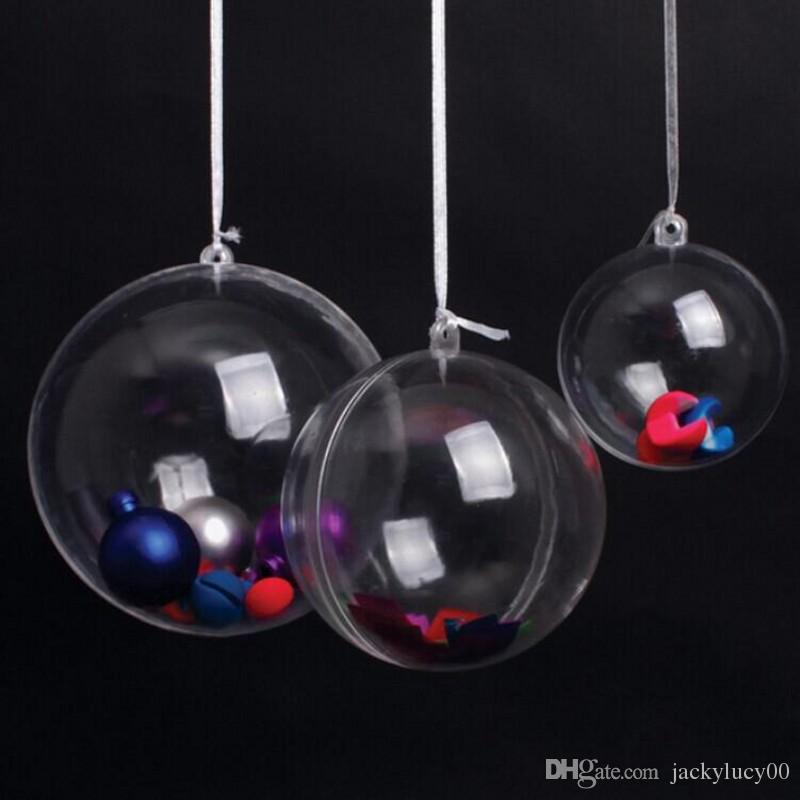 6 cm Can Open Clear Plastic Christmas Ball Ornament Candy Gift Box Hanging Balls For Xmas and Wedding Decoration