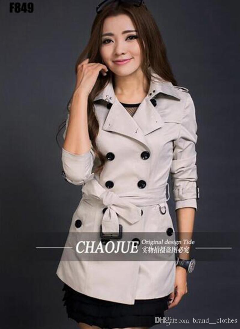 Il periodo primaverile e autunnale e l'edizione dell'edizione britannica trench coat doppio petto donna elegante moda casual per il tempo libero / S-3XL