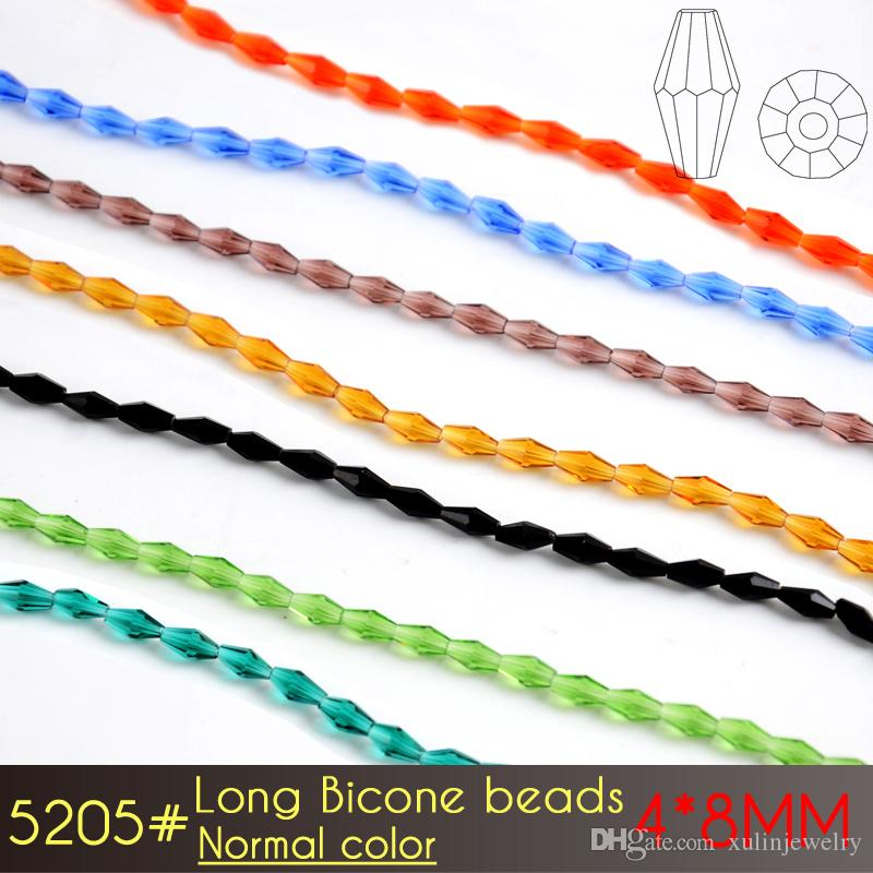 Factory Direct Sale 4x8mm Long Bicone Crystal Glass Beads A5205 Normal color You will get 72pcs/set
