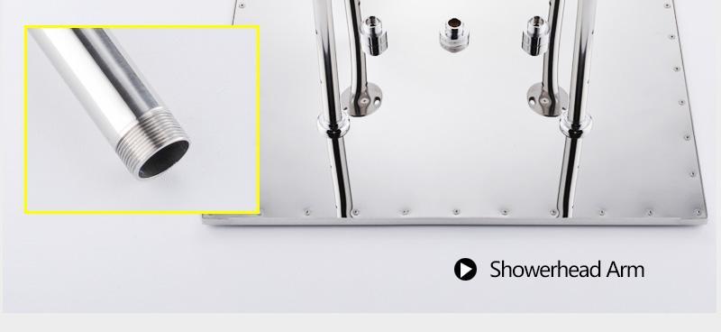 hm Bathroom Shower Head with 4 Ways SUS304 20inch Rain & Mist & Brass Slide Bar & Brass Spout & Brass Handheld Shower Set (15)