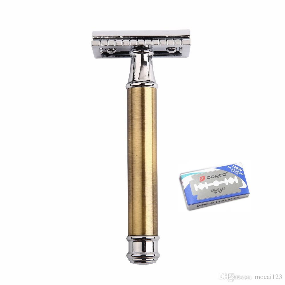 Brass Double Edge Razor Blade Replaceable Razors for Shaving Men Manual Shaver Blank Handle Classic Safety Razor