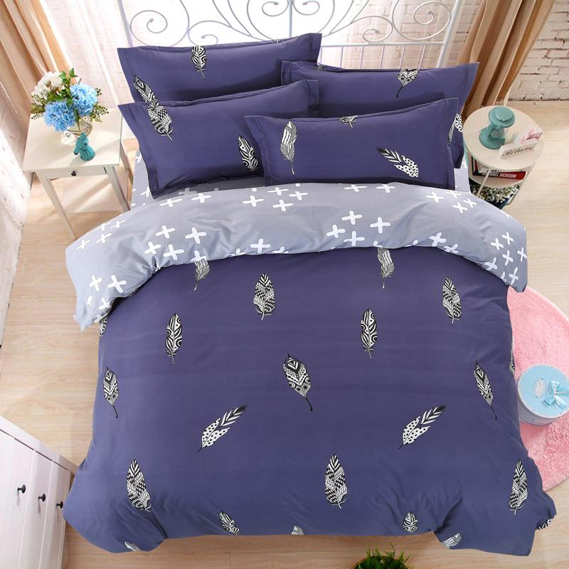 Wholesale- LUCKY TEXTILE bedding set feather king size blue duvet cover bed sheet queen full size modren bedding adult grid stripe bed set