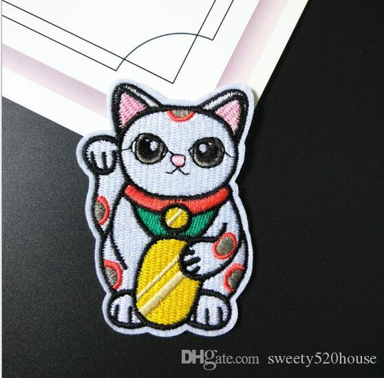 Cute Maneki-neko Japan Japanese Lucky Cat DIY Embroidered Sew Iron on Patch by Cat