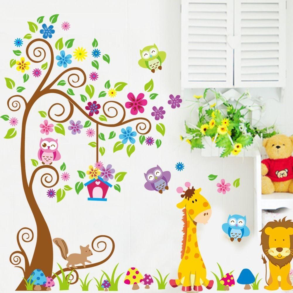 Desenhos Animados DIY Animal Girafa Owls Lion Under Tree Wall Sticker  Removable Vinyl Art Kids Baby Part 81
