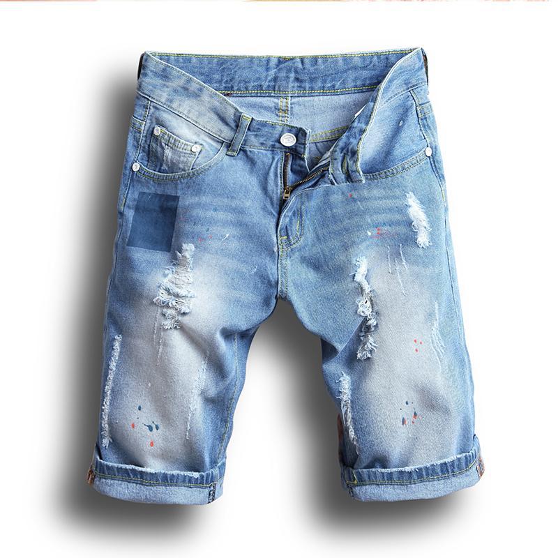 All'ingrosso 2017 estate denim shorts maschio jeans uomo jean shorts bermuda skate board harem mens jogger caviglia strappato onda 38 36