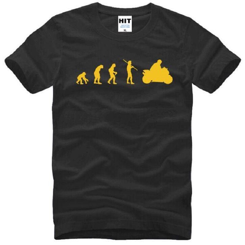 الصيف نمط دراجة نارية تطور النارية تي شيرت الرجال القطن قصير الأكمام س الرقبة المطبوعة القرد تطور رجل t-shirt مضحك تيز