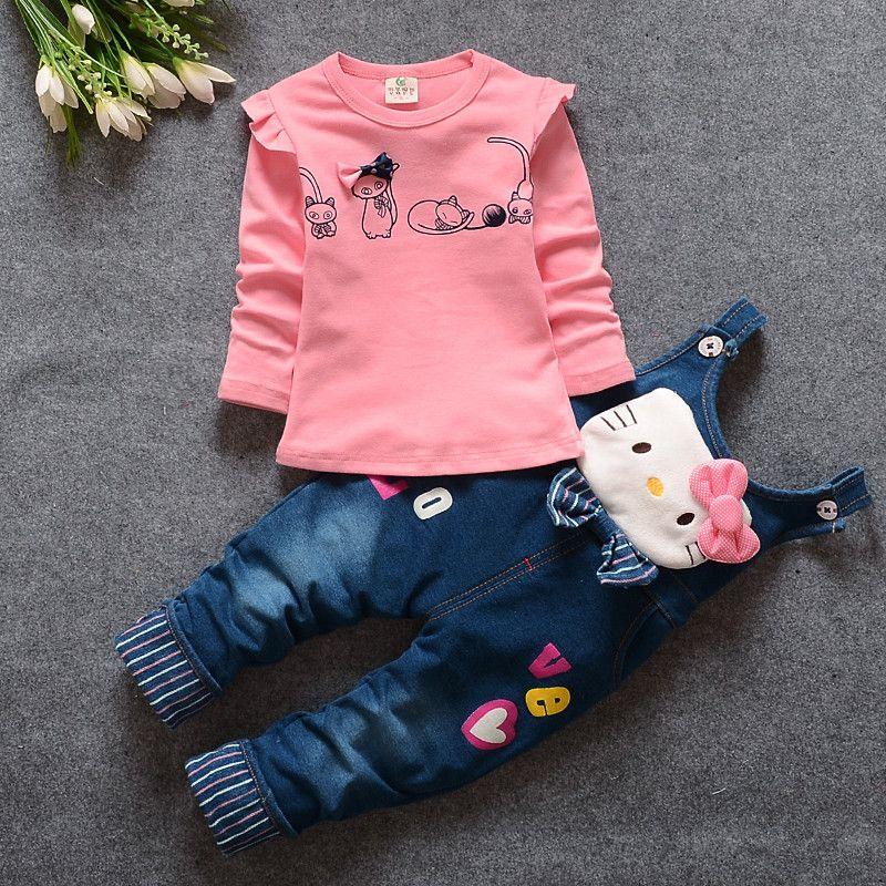 All'ingrosso- 2016 Primavera / Autunno set di vestiti delle neonate gatto sveglio Toddler ragazza abbigliamento T shirt manica lunga + Tuta bambini vestiti del bambino vestito
