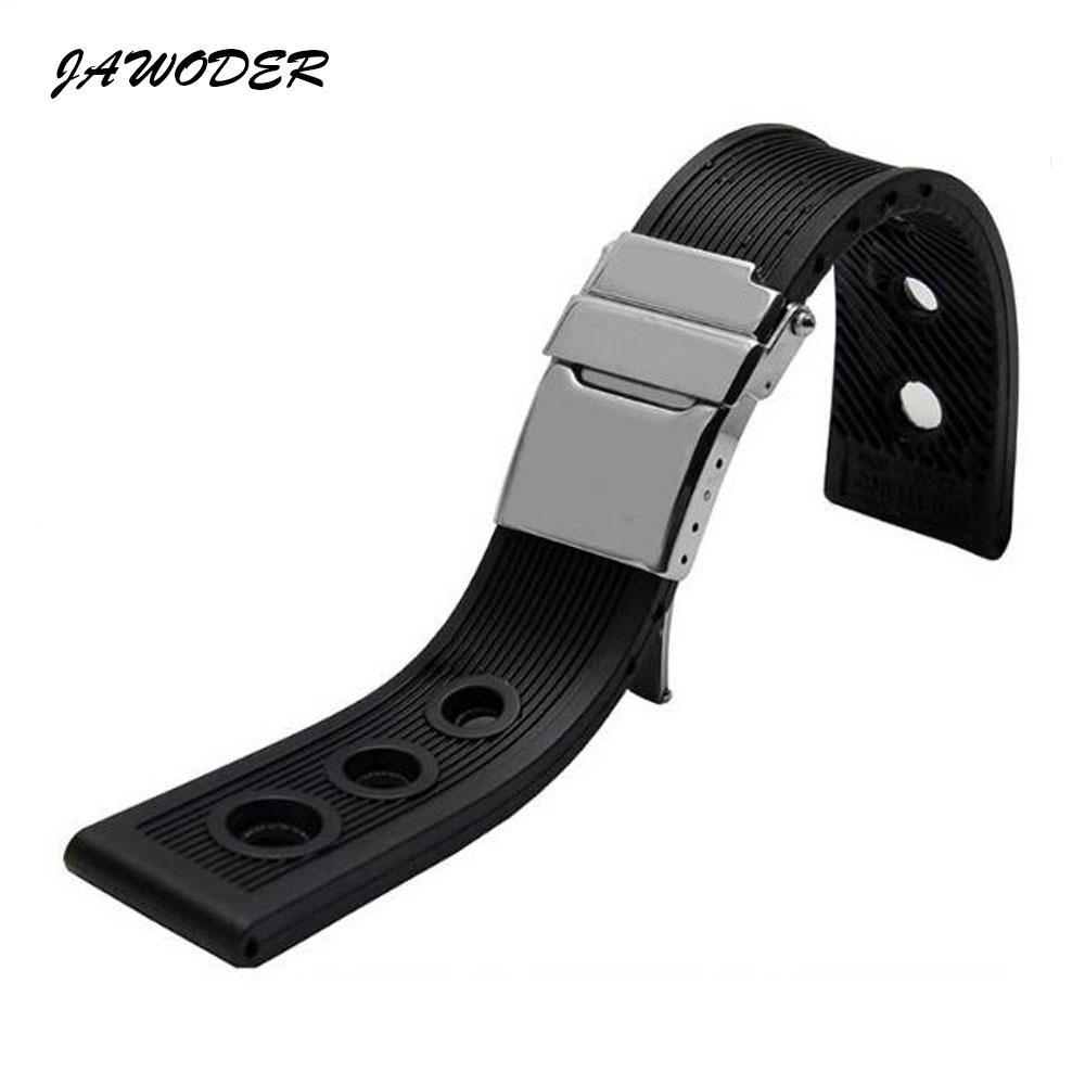 Jawerver pulseira de 22mm / 24mm preto mergulho à prova d 'água de borracha de silicone pulseira de relógio cinta de aço inoxidável de prata fecho para b-r-e assistir