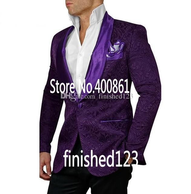 Модные жених смокинги друзья жениха одна кнопка фиолетовый Шаль лацкан лучший человек костюм свадьба мужской пиджак костюмы (куртка+брюки+галстук) K302