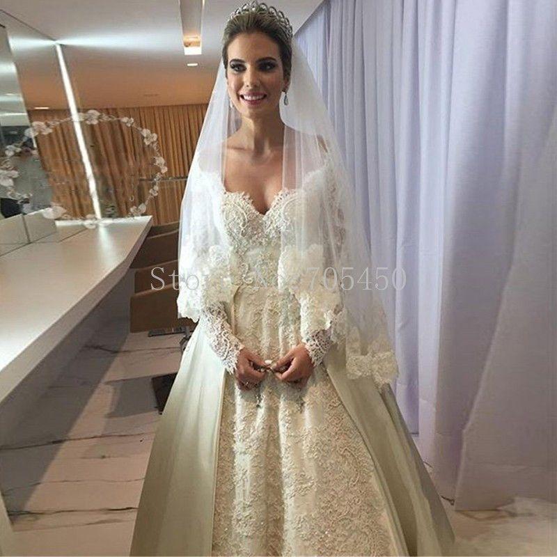 Großhandel Islamische Brautkleider 2017 Vestido Noiva Longo V ...